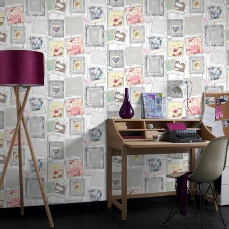 Graham & Brown Multi Coloured Cute Framed Floral Wallpaper