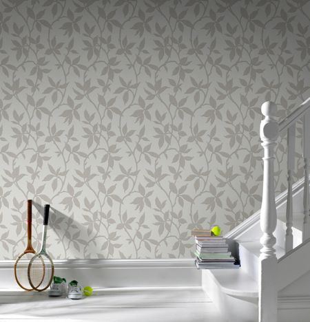Graham & Brown Neutral Leaf Trail Wallpaper with Metallic Effect