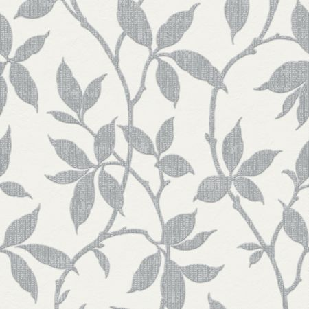 Graham & Brown Grey Leaf Trail Wallpaper with Metallic Effect
