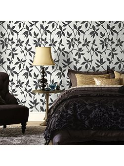 Charcoal Leaf Wallpaper with Metallic Effect