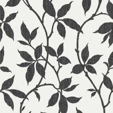 Graham & Brown Charcoal Leaf Wallpaper with Metallic Effect