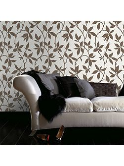 Bronze Leaf Trail Wallpaper with Metallic Effect