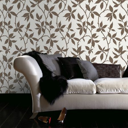 Graham & Brown Bronze Leaf Trail Wallpaper with Metallic Effect