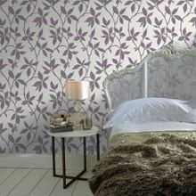 Graham & Brown Purple Leaf Trail Wallpaper with Metallic Effect
