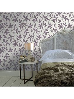 Purple Leaf Trail Wallpaper with Metallic Effect
