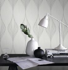 Graham & Brown White & Silver Geometric Wallpaper with Glitter