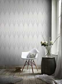Graham & Brown White & Duck Egg Geometric Wallpaper with Glitter