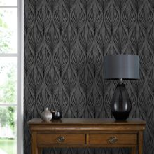Graham & Brown Black & Silver Geometric Wallpaper with Glitter