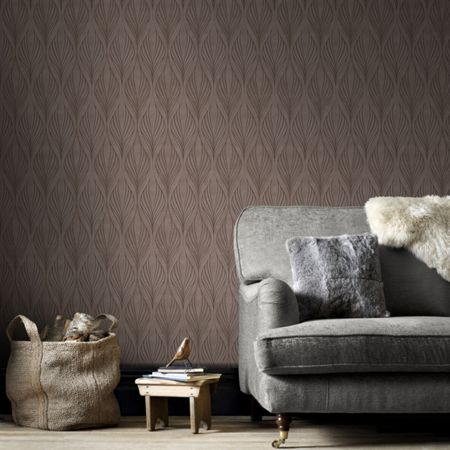 Graham & Brown Bronze Geometric Print Wallpaper with Glitter