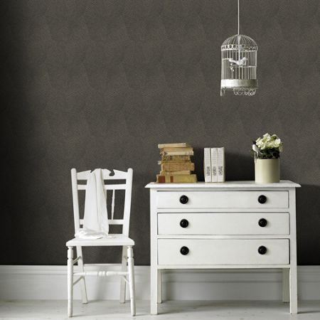 Graham & Brown Black & Gold Geometric Shimmer Print Wallpaper