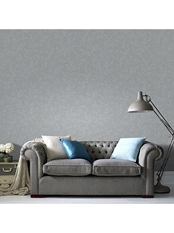 Grey & Silver Subtle Leaf Design Wallpaper