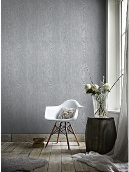 Grey & Silver Faux Wood Effect Wallpaper