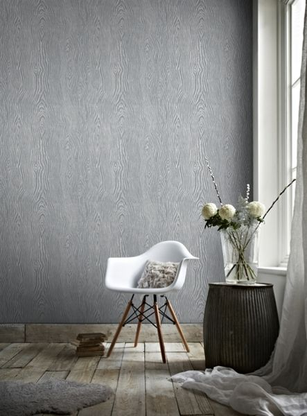 Graham & Brown Grey & Silver Faux Wood Effect Wallpaper