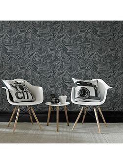 Marbled Black & Grey Shimmer Wallpaper