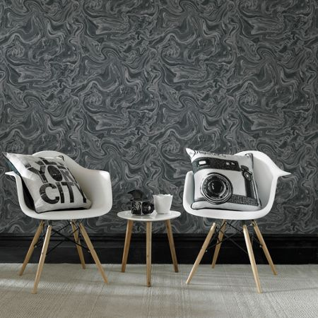 Graham & Brown Marbled Black & Grey Shimmer Wallpaper