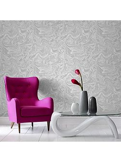 Marbled Grey & White Shimmer Wallpaper