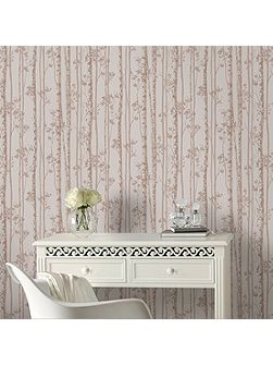 Linden Rose Gold Branch Tree Shimmer Wallpaper