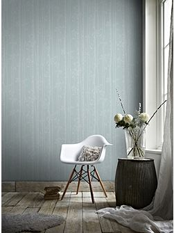 Linden Blue & White Branch Tree Shimmer Wallpaper
