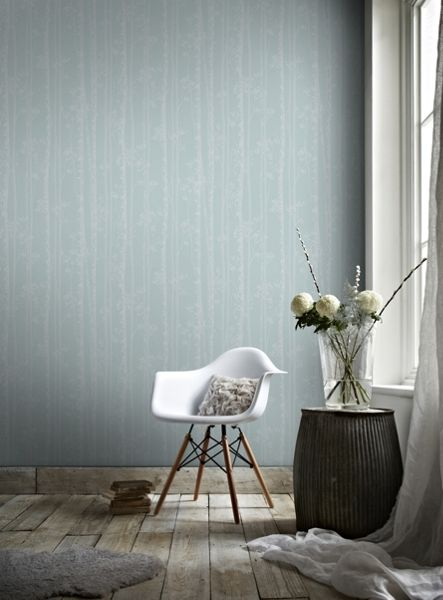 Graham & Brown Linden Blue & White Branch Tree Shimmer Wallpaper