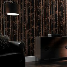 Graham & Brown Linden Black & Copper Branch Shimmer Wallpaper