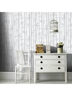 Linden Pearl & Grey Branch Shimmer Wallpaper
