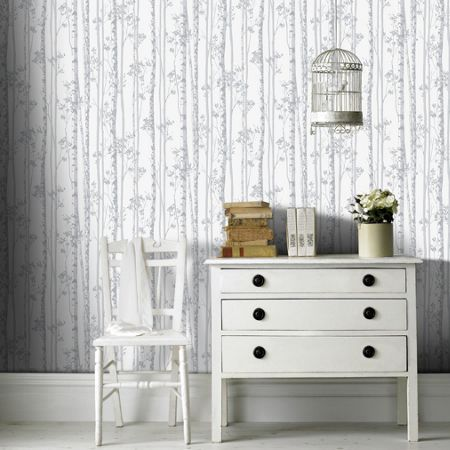 Graham & Brown Linden Pearl & Grey Branch Shimmer Wallpaper