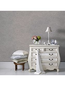 Beige & Silver Palm Leaf Metallic Wallpaper