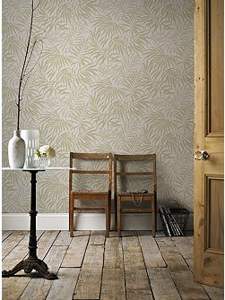 Tropic Beige & Gold Palm Leaf Metallic Wallpaper