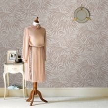 Graham & Brown Tropic Beige & Rose Gold Leaf Metallic Wallpaper