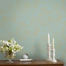 Graham & Brown Tropic Blue & Gold Palm Leaf Metallic Wallpaper