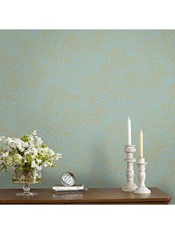 Tropic Blue & Gold Palm Leaf Metallic Wallpaper