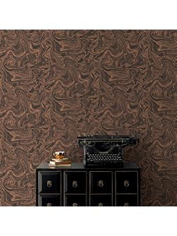 Charcoal & Gold Marbled Effect Wallpaper