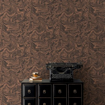 Graham & Brown Charcoal & Gold Marbled Effect Wallpaper