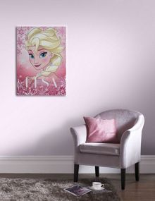 Disney Frozen Elsa pink glitter canvas wall art