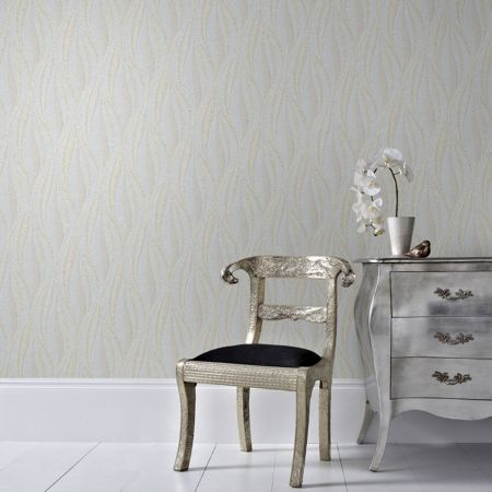 Graham & Brown Boutique Tango Embossed Geometric Mist/Gold Wallp