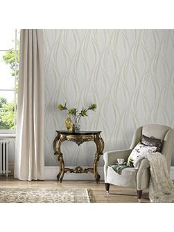 Boutique Tango Embossed Geometric Ivory Wallpaper