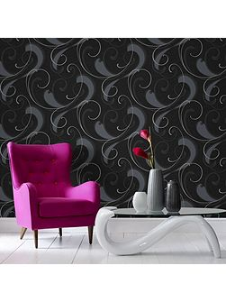Flamenco Geometric Charcoal/Silver Wallpaper