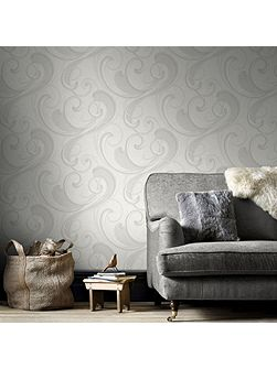 Textured Geometric White Wallpaper