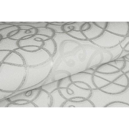 Graham & Brown Ribbon Dance Geometric Damask White Wallpaper