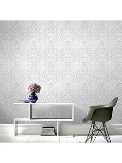 Ribbon Dance Damask Grey Metallic Wallpaper