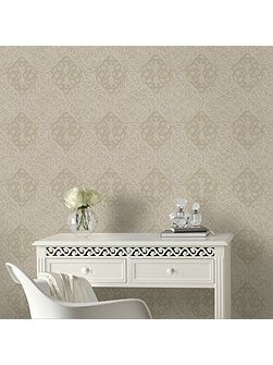 Ribbon Dance Damask Gold Metallic Wallpaper