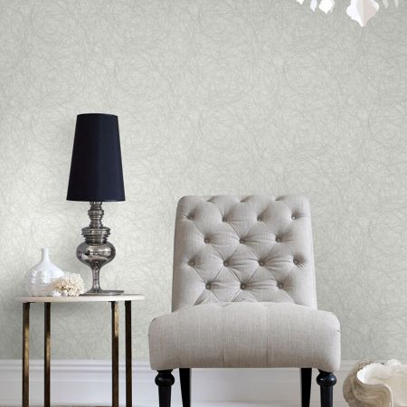 Graham & Brown Twist Metallic White/Silver Wallpaper