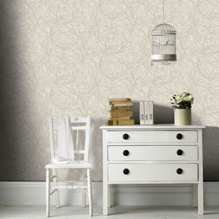 Graham & Brown Twist Metallic Ivory/Gold Wallpaper