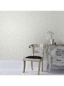 Boutique Cashmere Metallic White/Silver Wallpaper