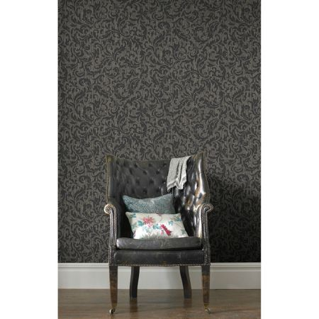 Graham & Brown Boutique Cashmere Charcoal/Champagne Wallpaper