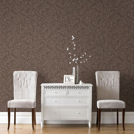 Graham & Brown Boutique Cashmere Chocolate/Copper Wallpaper