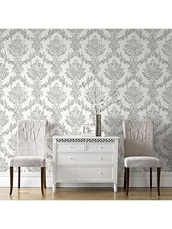 Boutique Opal Damask White and Silver Wallpaper