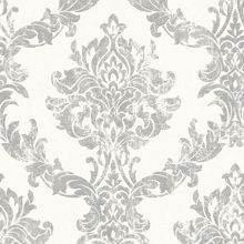 Graham & Brown Boutique Opal Damask White and Silver Wallpaper