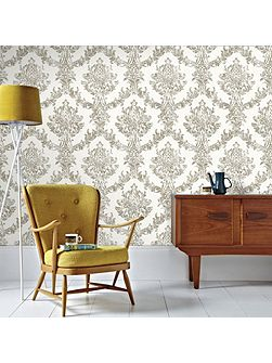 Boutique Opal Damask White and Gold Wallpaper