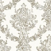 Graham & Brown Boutique Opal Damask White and Gold Wallpaper